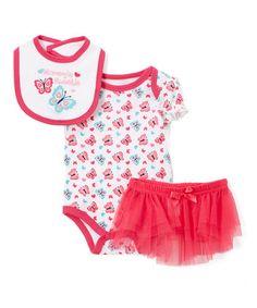 Look at this #zulilyfind! White & Fuchsia Butterfly Bodysuit Set - Infant #zulilyfinds