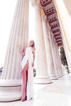 Silk white haute couture dress Konstantinos Melis by Laskos