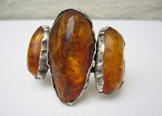 Vintage Heavy Large sterling silver Bracelet with 3 large Amber gemstones   small size wrist
