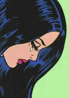 Raven-haired beauty crying Pop Art