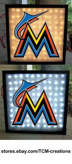 MLB Major League Baseball Miami Marlins shadow boxes with LED lighting