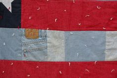 Jeans and tying add interest to the All-American Flag Quilt, by Alethea Ballard American Flag Quilt, Patriotic Quilts, Quilt Of Valor, Old Jeans, Country Girls, Quilting Ideas, Flags, National Flag