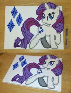 Rarity MLP perler beads by RoninEclipse2G on deviantart
