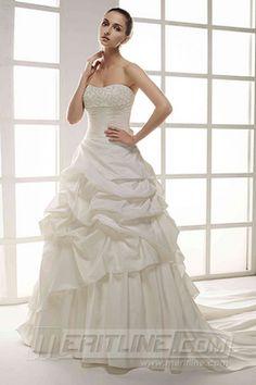 Tailored Wedding Dress Ball Gown Strapless Court Train Satin