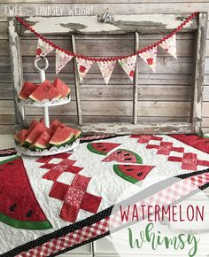 Watermelon Whimsy Table Runner - By Lindsey Weight for FWFS Table Runner And Placemats, Quilted Table Runners, Easy Quilts, Mini Quilts, Star Quilts, Watermelon Quilt, Watermelon Decor, Watermelon Designs, Purple Christmas Tree
