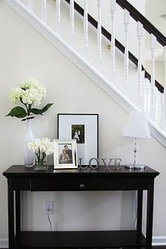 How cute is this!?! I've got the LOVE letters and same vase! House Entrance, Entrance Ideas, Entrance Foyer, Entry Hall, Entryway Decor, Entryway Ideas, Hallway Decorating, Interior Decorating, Sofa Table Decor