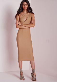 One Shoulder Split Midi Dress Camel - Dresses - Midi Dresses - Bodycon Dresses - Party Dresses - Missguided
