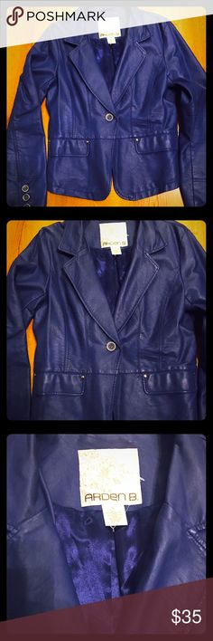 Cobalt Blue Faux Leather Blazer Cobalt blue faux leather blazer, with blue and gold buttons and two front pockets. Light weight and oh so fly!! Arden B Jackets & Coats Blazers