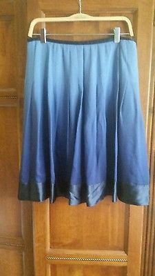 Talbots Pleated Blue Ombre Silk Skirt size 8P