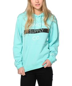 Keep things casual in brilliant style with this mint pullover hoodie crafted with a soft fleece construction and Diamond Supply Co. bar logo at the front.