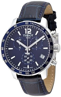 Tissot Mens Quickster T0954171604700 Blue Leather Swiss Quartz Watch -- Be sure to check out this awesome product.