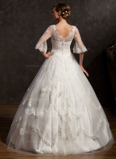 Ball-Gown V-neck Floor-Length Satin Tulle Wedding Dress With Lace Beading (002015168)