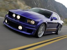 purple blue Ford Mustang