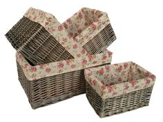 Red Hamper - Set of 4 Antique Wash Garden Rose Willow Storage Baskets, £65.00 (http://www.redhamper.co.uk/set-of-4-antique-wash-garden-rose-willow-storage-baskets/)