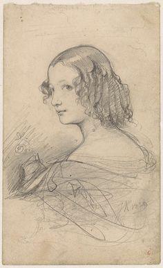 Johan Hendrik Koelman | Portret van een jonge vrouw met pijpenkrullen, naar links, Johan Hendrik Koelman, 1839 |