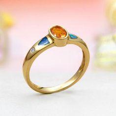 14k Yellow Gold Diamond, Mexican Fire Opal, Rainbow Fire Australian Black Opal Inlay Ring Jewelry