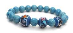Blue Fossil Beads and Lampwork Glass Beads Stretch Bangle Bracelet | AyaDesigns - Jewelry on ArtFire
