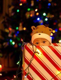 Peek-a-boo Christmas baby