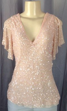 Adrianna Papell Evenings Essentials formal blouse with sequins Pink M