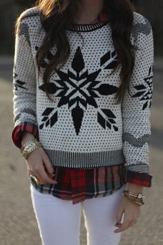 This is the perfect Christmas Eve outfit! A wintery knit sweater paired with flannel is a great way to show off your holiday spirit. Christmas Eve Outfit, Holiday Outfits, Winter Outfits, Winter Looks, Cozy Winter, Winter Wear, Winter Style, Sweater Weather, Ski Sweater