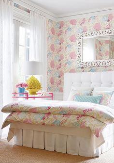 House of Turquoise: Thibaut Design - Lovely Bedroom Dream Bedroom, Home Bedroom, Bedroom Decor, Design Bedroom, Wall Design, Bedroom Ideas, Pretty Bedroom, Shabby Bedroom, Shabby Cottage