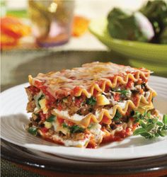 MorningStar Farms® Mushroom, Spinach and Artichoke Lasagna Recipe – layers of hot, gooey goodness gone meat-free.