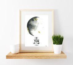 Moon Quote Print - Quote Print - Moon Poster - Wall Art - Metallic Gold - Water colour Moon - La Luna Print - La Luna - Moon Art