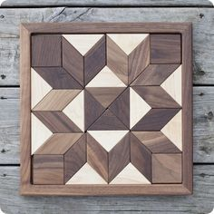 Square Wooden Mosaic Puzzle,  Double Side Maple & Walnut