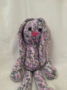 Purple and pink multi colored crochet bunny. by TheHappyStar