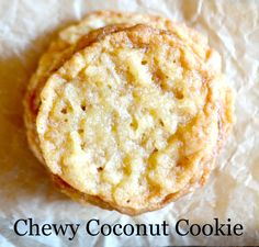 I love this chewy coconut cookie recipe - it's so flavorful and still so easy to make. Coconut cookies have become a staple because of this recipe. Cookie Desserts, Just Desserts, Cookie Recipes, Delicious Desserts, Dessert Recipes, Yummy Food, Baking Desserts, Healthy Desserts, Chewy Coconut Cookies Recipe