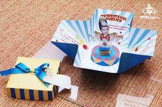 Convite Circo Caixa Surpresa - Menino