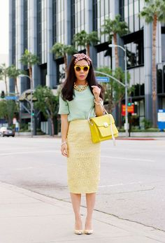 Another way for the yellow lace skirt from ASOS (dup of LV 2013 Spring)
