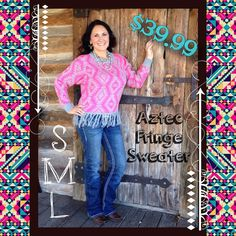 The Bling Box - Pink and Gray Aztec Fringe Sweater S-M-L, $39.99 (http://www.theblingboxonline.com/pink-and-gray-aztec-fringe-sweater-s-m-l/)