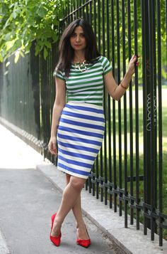 I adore the stripes on stripes. Paired with a saucy pair of low heels.it's a summer outfit ready for an evening of cocktails. Summer Outfits, Cute Outfits, Nautical Stripes, Low Heels, My Style, Skirts, How To Wear, Inspiration, Clothes