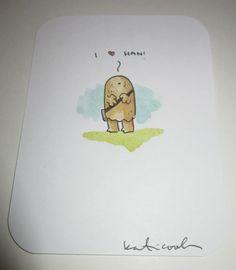 Star Wars Chewbaca Katie Cook Mini Watercolor Art Sketch Painting SDCC 2012 | eBay