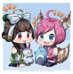 """ Chang'e x Nana . Lineart by Coloring BG by . OMG I love those colors! Chibi Wallpaper, Mobile Legend Wallpaper, Anime Chibi, Kawaii Anime, Manga Anime, Mobiles, Bang Bang, Miya Mobile Legends, Moba Legends"