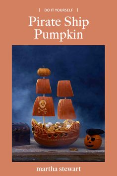 And, trick or treat. if you dare. This brigantine-style boat is brimming with a pirate's treasure haul: pearly white gumballs and candy gold doubloons. Pirate Pumpkin, Pumpkin Jack, Diy Pumpkin, Halloween Pumpkins, Halloween Crafts, Halloween Decorations, Pirate Boats, Decorative Lines