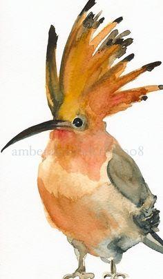 really charming watercolor prints.    Mall Hair Bird Art by amberalexander on Etsy, $20.00        via Patty Flagler