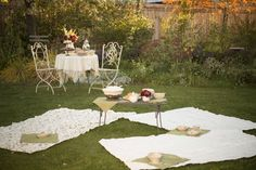 """Autumn Tea Party: This is something I've always wanted to do. Ever since I first saw Anne of Green Gables with their """"alfresco luncheon"""". I LOVE the lace as a place to sit and sip """"tea"""" or whatever else you want. :)"""