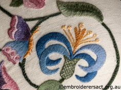 Detail 2 of Crewel Stool stitched by Marjorie Gilby - Embroiderers' Guild ACT