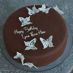 write name on Chocolate Butterflies Birthday Cake picture