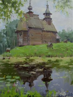 Orthodoxy in art Watercolor Landscape, Landscape Art, Watercolor Flowers, Landscape Paintings, Landscapes, Russian Painting, Russian Art, Russian Landscape, Fantastic Art