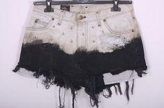 OMBRE Shorts Lee Vintage Destroyed DIY Cut Off Jeans High Waisted Denim XL. $35,00, via Etsy.