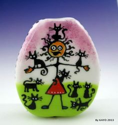 """""""A FAMILY OF 10"""" byKAYO a Handmade SWEET CAT LADY Lampwork Glass Focal Bead SRA"""