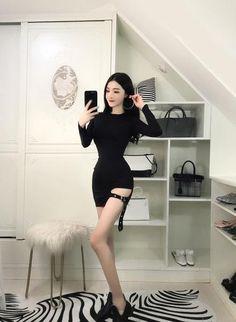 Sexy K-Pop Long sleeve Bodycon dresses Colors) Bodycon Dress With Sleeves, Black Bodycon Dress, Long Sleeve Mini Dress, Broly Ssj3, Black Sequin Top, Lace Party Dresses, Dark Fashion, Asian Woman, Dress Skirt