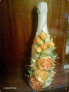 Поделка изделие 8 марта Цумами Канзаши украшение бутылок Ленты фото 8