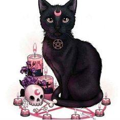 Magic of the black cat - random cool stuff - Cat Drawing Witch Art, Witch Aesthetic, Arte Horror, Illustration, Gothic Art, Halloween Art, Dark Art, Cute Art, Art Inspo