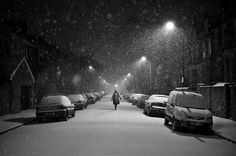 London photography, snowy black and white Hackney winter street scene with lonely female figure. 8x10 fine art photo print. UK seller. $35.00, via Etsy.