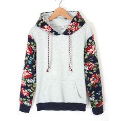 2015 outono inverno mulheres grosso quente Floral impresso Hoodies camisolas de manga longa com capuz longo casaco casacos ZM0092