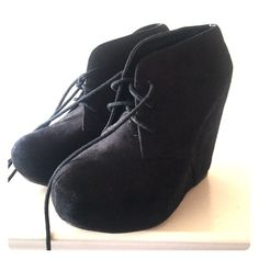 Black wedge lace up booties Worn once.  Just a bit dusty. Easily wipes off. I will clean before I ship! Size 7/8 im a 7.5. Fits me perfect Rue 21 Shoes Wedges